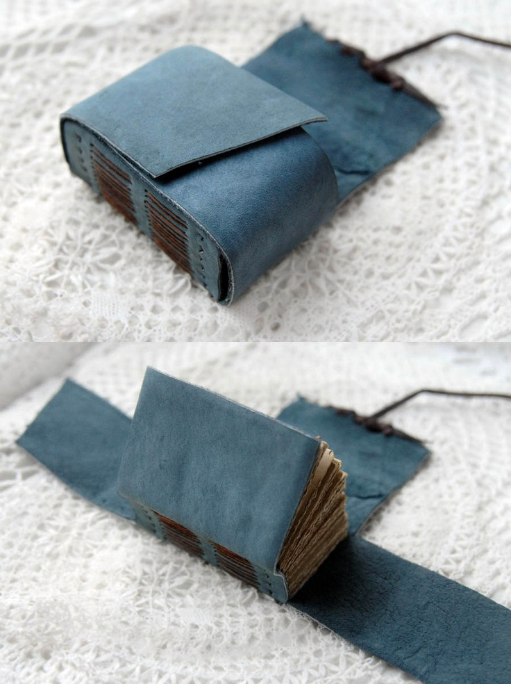 Etsy Transaction - The Little Blue Bundler - Unique Small Rustic Blue Suede Wrap Journal with Tea-Stained Recycled Pages