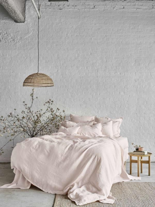 Pure Linen Quilt Cover Set In Peony - Sheets on the Line - 1