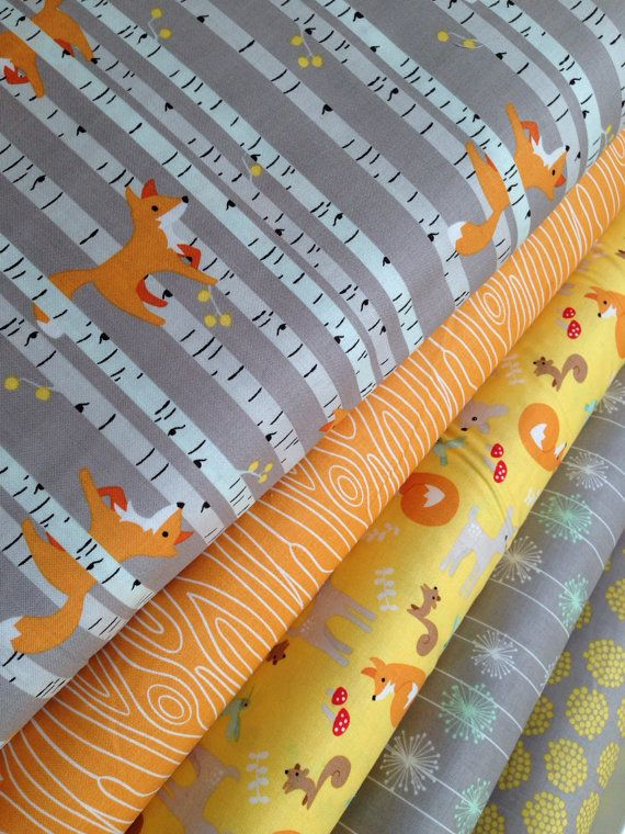 Good Natured Fox Fabric bundle by Riley Blake Fabrics and Fabric Shoppe-  Yard bundle, 5 total