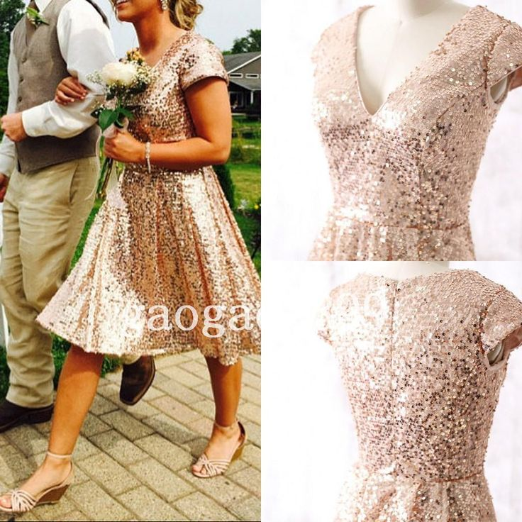 Real image knee length a line rose gold sequin bridesmaid for Long sleeve sequin wedding dress