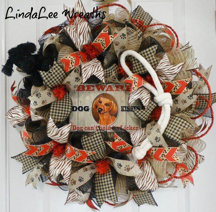 SALE (149)Burlap Deco Mesh Dachshund Dog Wreath, Dog Lover Wreath, Pet Themed Wreath, Dog Kisses-Dog Can't Hold its Licker, Novelty Pet Sign by LindaLeeWreaths on Etsy https://www.etsy.com/listing/269485227/sale-149burlap-deco-mesh-dachshund-dog