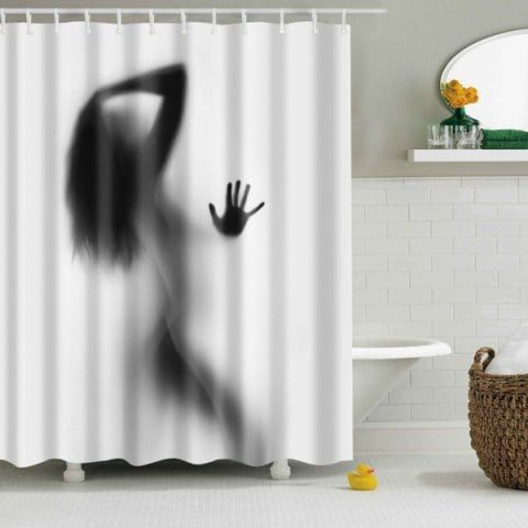 Eco Friendly Charming Figure Printing Shower Curtain For Bathroom