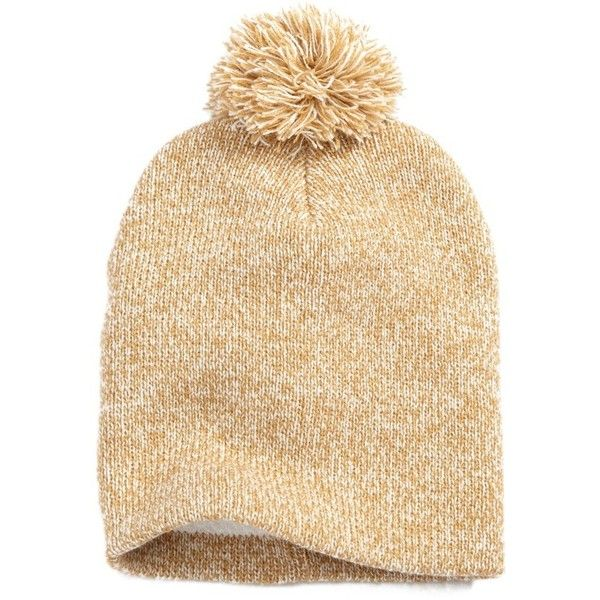 Women's Nyc Underground Fleece Lined Pompom Beanie (31 PEN) ❤ liked on Polyvore featuring accessories, hats, camel, camel hat, beanie cap hat, beanie hat, pom pom hat and fleece lined beanie hat