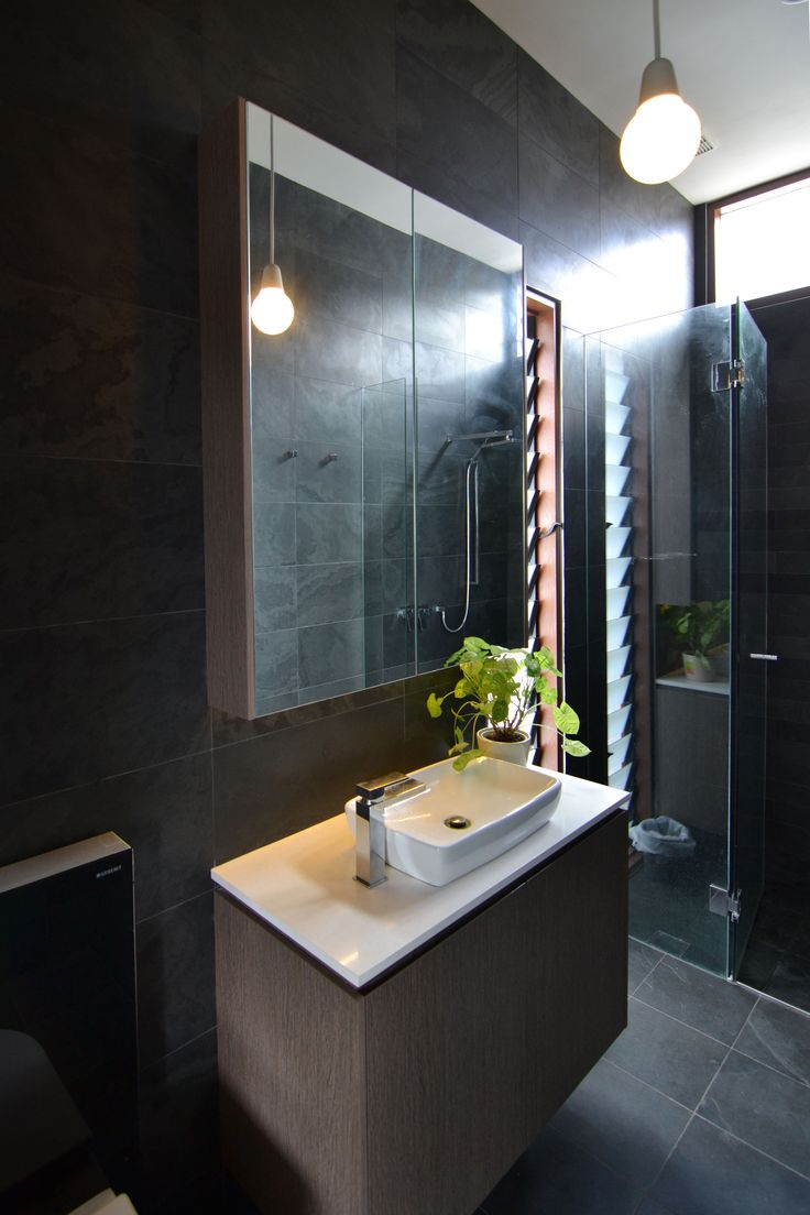 Adults Bathroom with tiling from Bisanna and custom Timber Veneer Vanity
