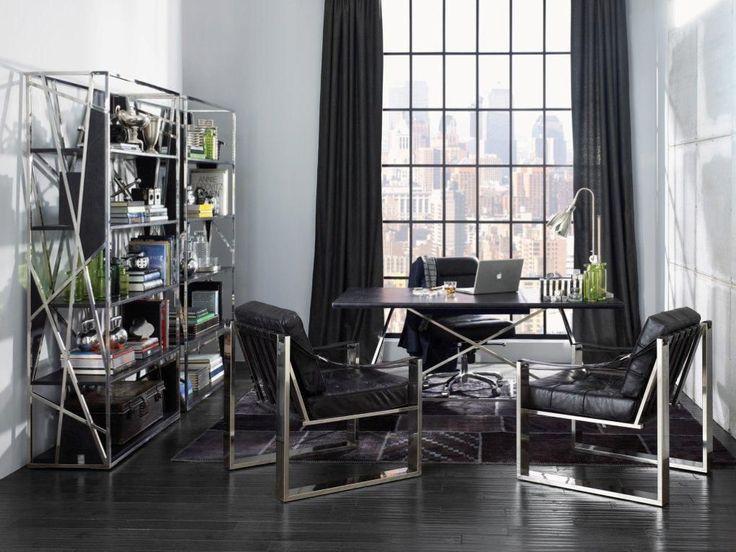 Fresh And Stylish Reading Space Decorating Ideas: Wood Flooring Stylish  Modern Style Black Curtain Office Decorating Ideas With Reading Space  Decoration ...