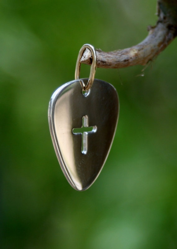 Handmade Silver Guitar Pick with Cross and by OakTreeJewelers, $50.00
