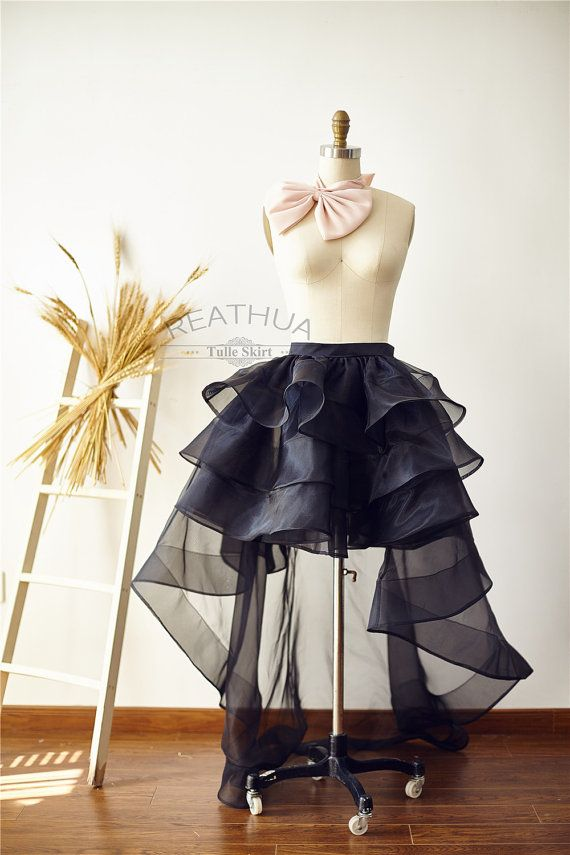Black Horsehair Women OrganzaTulle Skirt Hi Low by reathua on Etsy