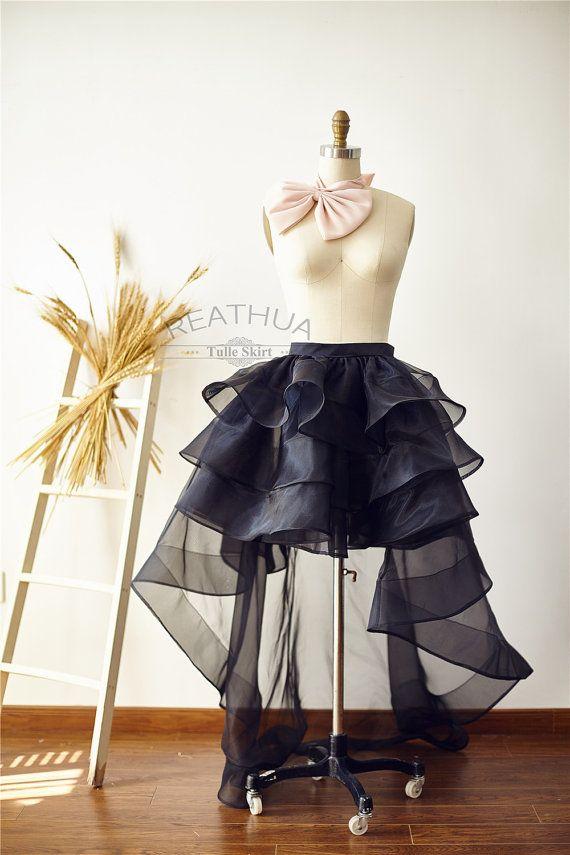 Black Horsehair Women OrganzaTulle Skirt Hi Low Asymmetrical Bridal Wedding Bridesmaid Skirt/Prom Party Skirt