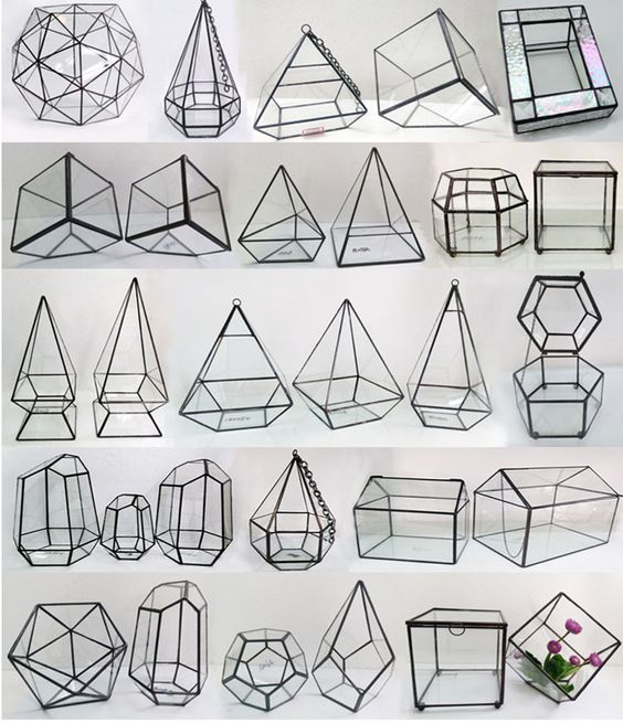Square Geometric Glass Terrarium / http://www.deerpearlflowers.com/terrarium-geometric-details-ideas/2/