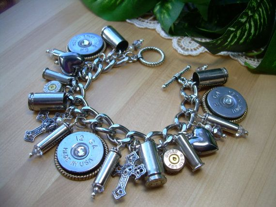 Bullet Jewelry Shotgun Shell Casings Crosses Hearts Crystals Rhinestones Bracelet: $68. Super cute! Just feel like it would be heavy...