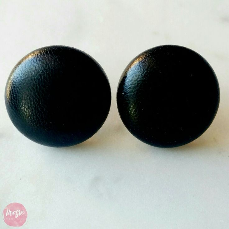 BLACK FAUX LEATHER EARRINGS • Handmade Original Design Fabric Button Jewellery • Available from www.poesiehandmade.com