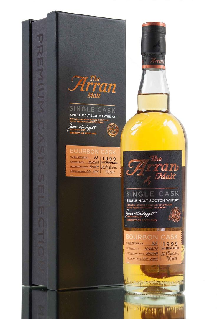 A new single cask release from Arran distillery. This special Island single malt scotch whisky was distilled on the 19th July 1999 and aged for 15 years in single bourbon cask #88. 204 bottles filled in the early part of 2015 at 56.9% vol.