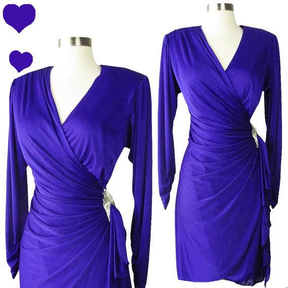 Vintage 80s Purple Dress // Slinky Draped Wrap by pinupdresses
