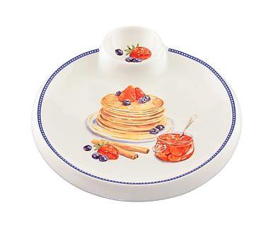 Блюдо для сервировки блинов - керамика - белый, 20х22х2 см