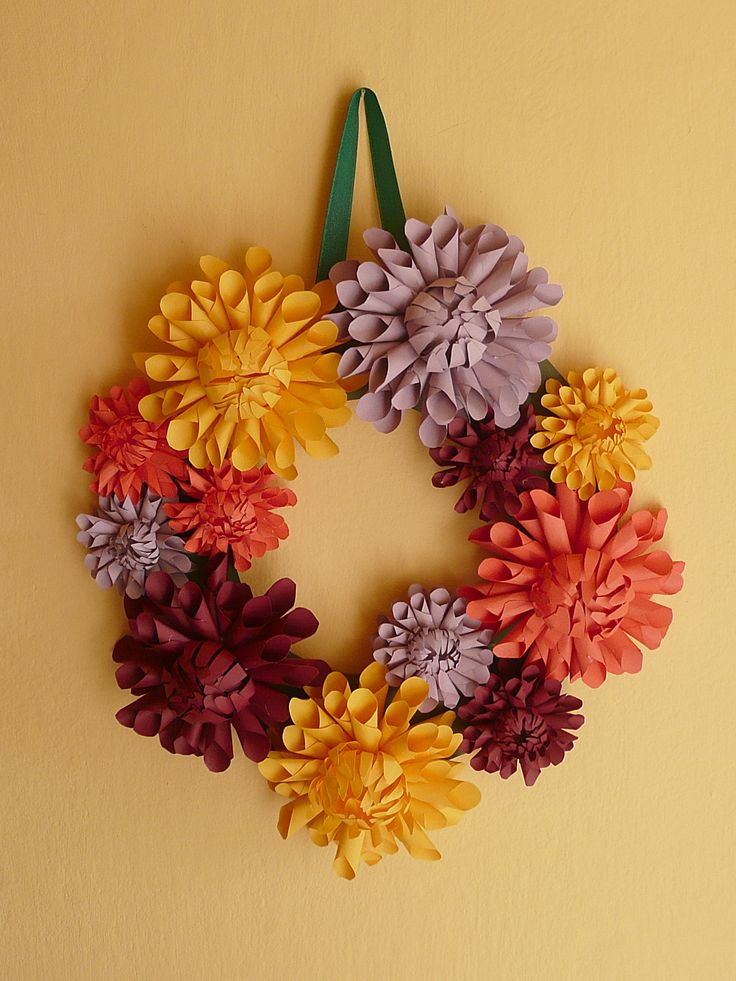 fall wreath, paper flowers katinka's work
