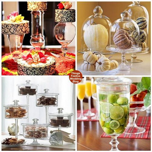 Apothecary jars can be used in interesting ways on a candy buffet.