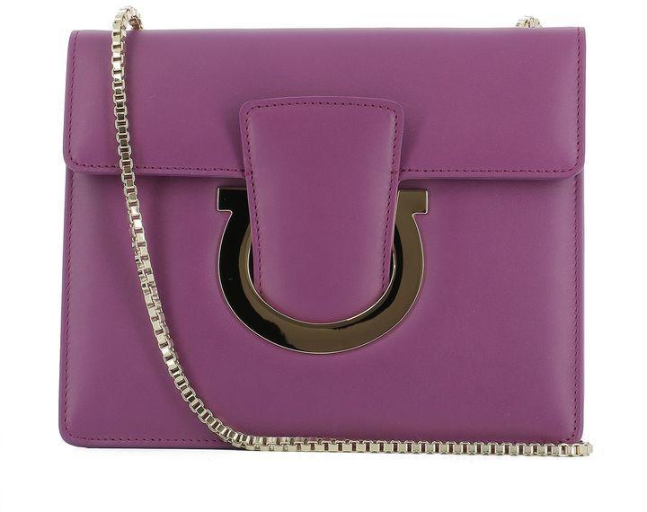 Salvatore Ferragamo Purple Leather Shoulder Bag
