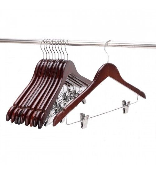 js hanger solid gugertree wooden pant hanger wooden suit hangers with polished clips and hooks