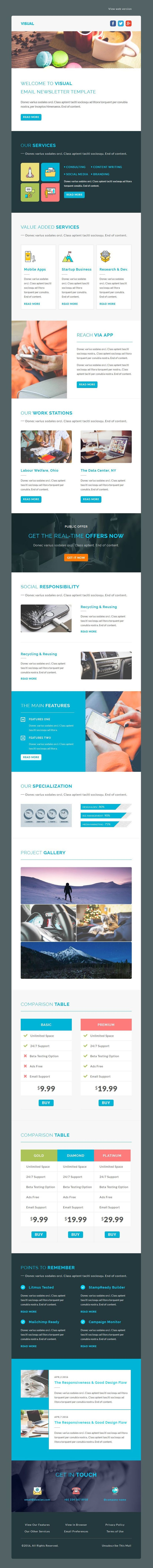 Visual responsive email #newsletter template designed for general, personal, corporate, business and office use  All templates are StampReady, MailChimp & Campaign Monitor compatible #emailtemplate #marketing