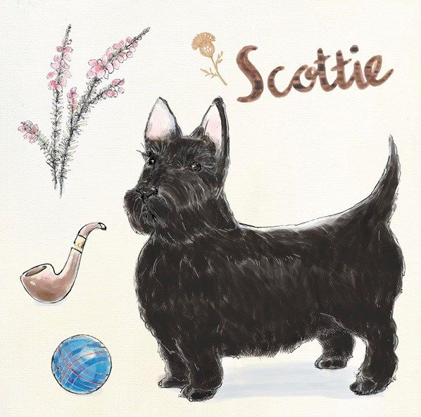 """Scottie Escapades"" dog-themed original artwork by Kerri Elliott via www.artinmotion.com"