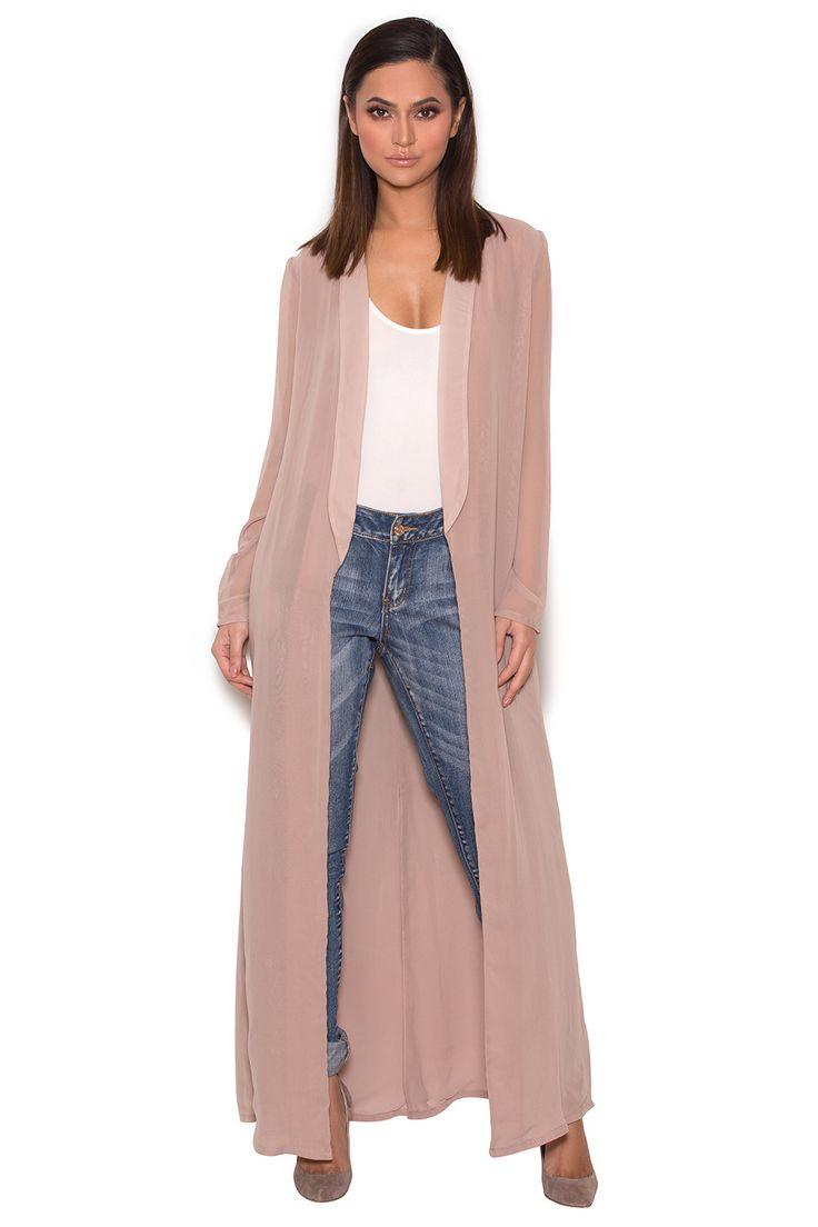 Clothing : Jackets : 'Carlene' Taupe Sheer Chiffon Duster Coat