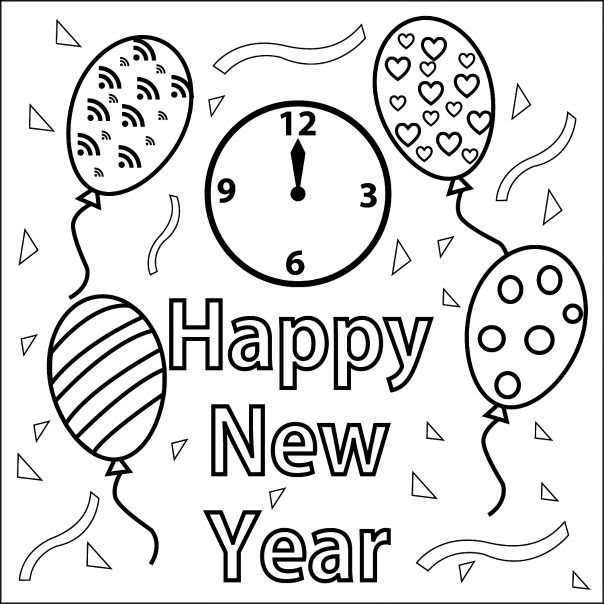 New Year Coloring Page And Auld Lang Syne Song