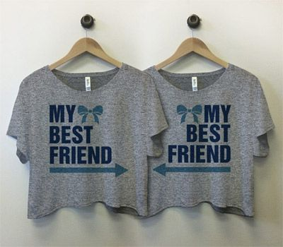 My Best Friend (with Bows and Arrows): Matching crop tops from Customized Girl.