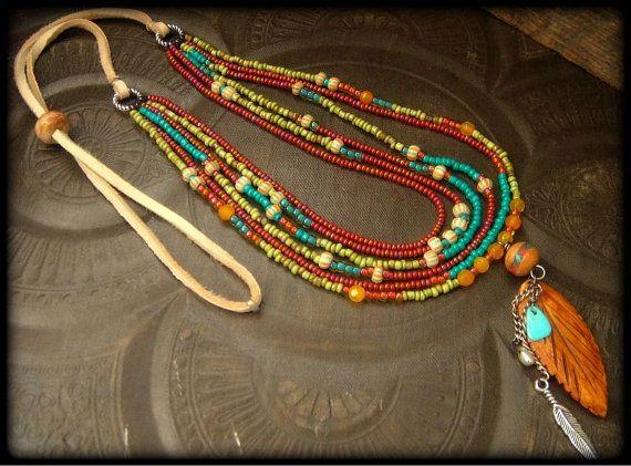 Feder Calcit Gebet Perlen Glas afrikanische Perlen von YuccaBloom