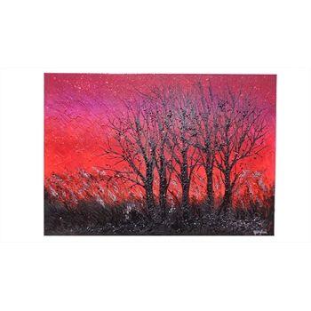 Quadri Paesaggi Tramonto Alberi astratti al tramonto - Dim. 70x100- Acrilico materico su tela.