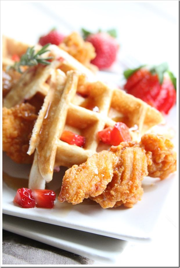 Strawberry and Rosemary Chicken and Waffles ~ Doughmesstic