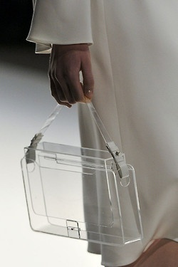 Jasper Conran SS12. Clear Bag  Love this - really appreciating my perspex, lucite and clear plastic. Lush