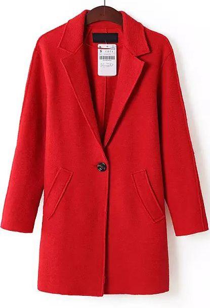 Red Lapel Long Sleeve Pockets Coat 40.00