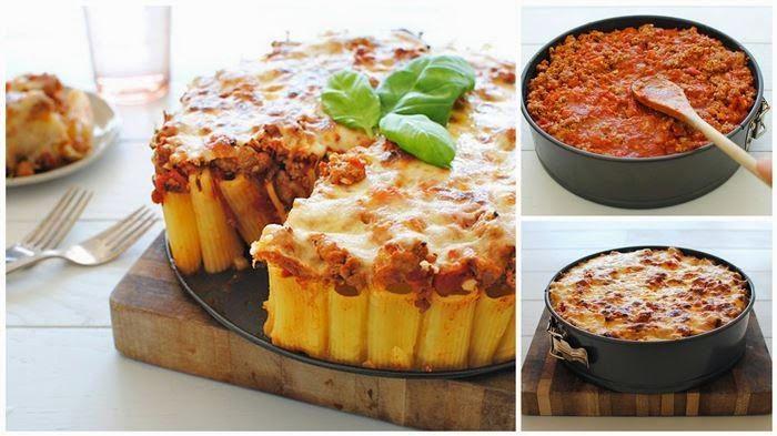 Nodig:  500 g rigatoni pasta  1 el olijfolie  100 g geraspte Parmezaanse kaas  je favoriete pastasaus met 400g gehakt  200 g geraspte ...