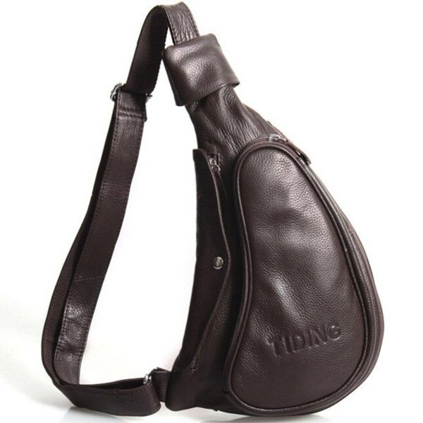 Men Genuine Leather Vintage Casual Chest Bag Retro Leisure Shoulder Bag