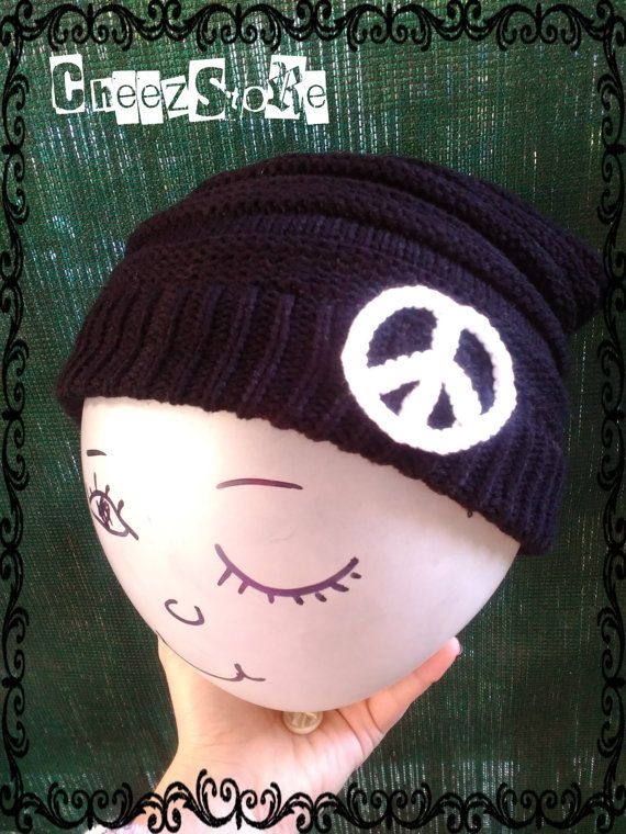 Slouchy beanie funny hat Crochet white peace sign by CheezStore