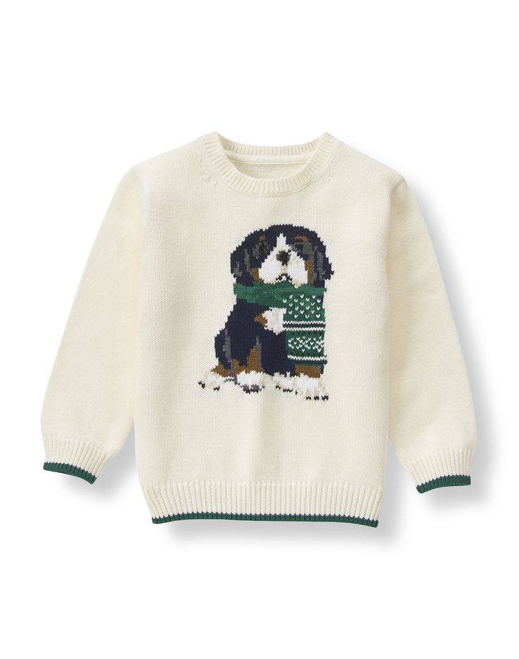Our cozy cotton sweater features a hand-embroidered and intarsia-knit Bernese mountain dog. Ribbed trim with contrast tipping finishes the charming design.