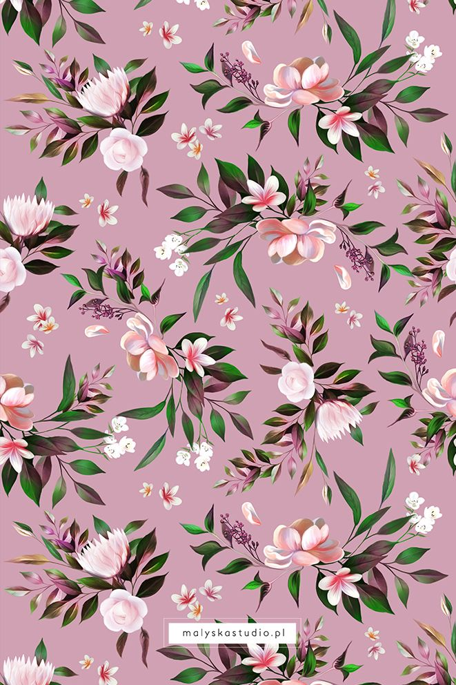 Floral Romantic Pattern Rose Painting Wallpaper Design Pattern Floral Design Wallpaper