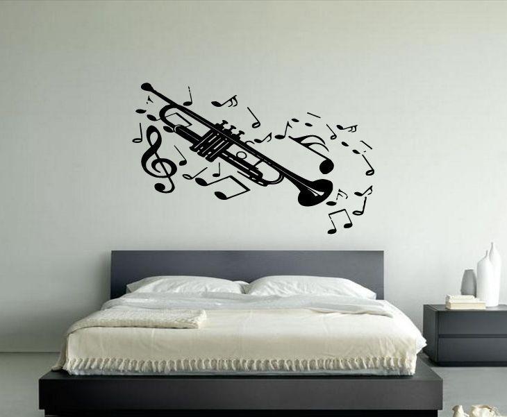 Trombone sticker wall vinyl musical instrument silhouette mural gift 111 homeofstickers