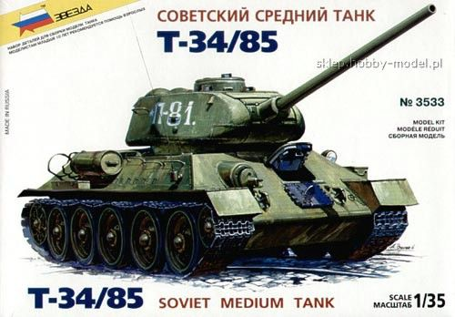 Maquette - T-34/85 Soviet Tank - Zvezda 3533