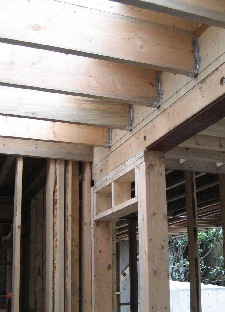 door header made up of a steel beam with beam casing in