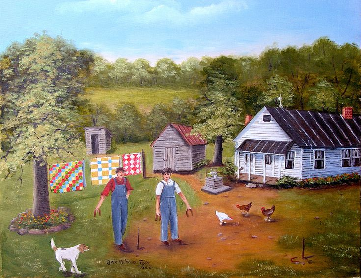 Folk Art Prints For Sale, Folk Art, Horseshoe Game, Farm House, Chickens, Quilt, Outhouse, Folk Art Landscape, Beagle Hound Dog, Arie Taylor by jagartist on Etsy