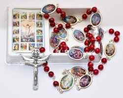 Red Glass Station of the Cross Rosary Beads.