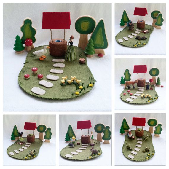 Wishing Well Playscape Play Mat - wool felt imagination pretend play make believe wish storybook fairytale dollhouse toy