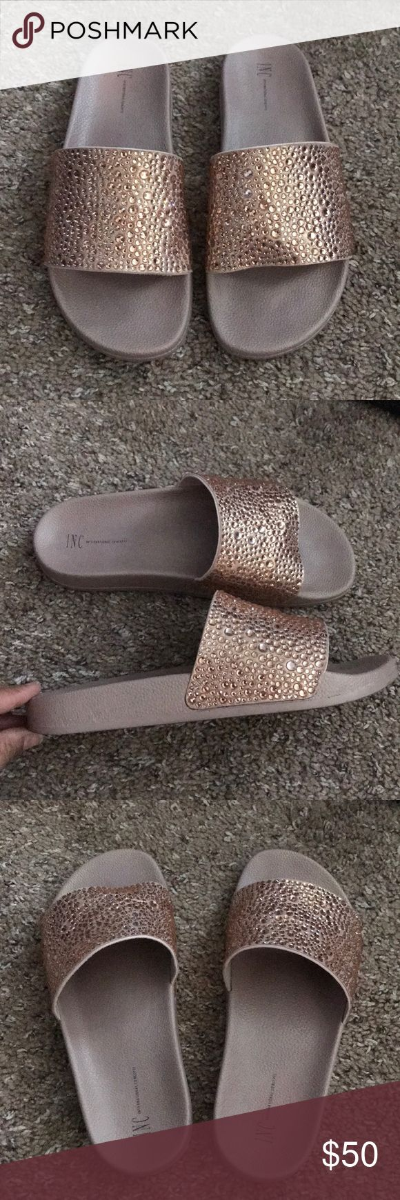 INC crystal slides EUC. Rose gold crystals. Worn 2x .. size 9. Comes with original box. INC International Concepts Shoes Sandals