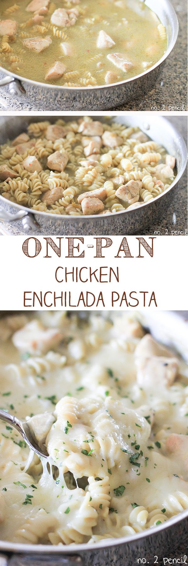 One-Pan Chicken Enchilada Pasta~T~ Yummy. I used Greek yogurt instead of sour cream to cut fat and Pepper Jack for a little heat.