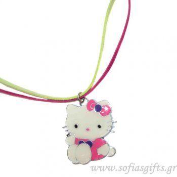Μακρύ κολιέ Hello Kitty ροζ με φούξια και λαχανί δέρμα - Είδη σπιτιού και χειροποίητες δημιουργίες   Σοφία