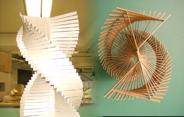 1/8 Scale Concept Model illustrates two opposing forces of movement, speed, and time. chipboard