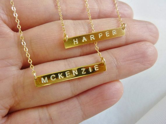 Gold bar name necklace.