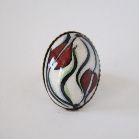 Ying Yang Turkish Red Tulip Design Ceramic Ring