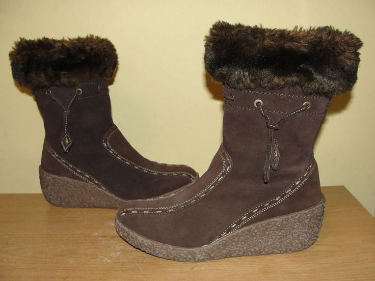 BRILLIANT Womens Shoes Suede Leather Brown Insulated Winter Wedge Boots Size 7.5 #BRILLIANT #MidCalfBoots #Casual